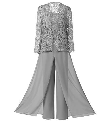 Pretygirl Frauen 3 Stücke Elegante Spitze Brautmutterkleid Hose passt halben Ärmeln mit Jacke Outfit Bräutigam(US 14, Silber Grau)