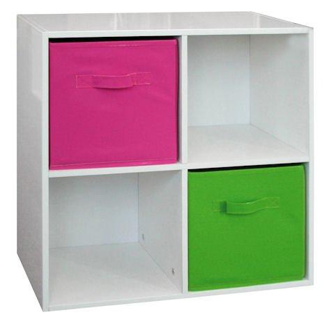 Spetebo Holzregal mit 4 Fächern # weiss hochglanz # + zwei Aufbewahrungsboxen in grün und pink (Hochglanz-aufbewahrungsbox)
