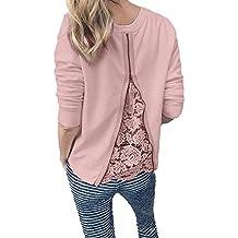 Yvelands Moda para Mujer Camisa O-Cuello de Manga Larga Camiseta de Encaje Patchwork Blusa