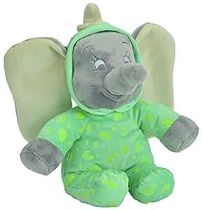 Disney Peluche Veilleuse Brille Dans la Nuit - Dumbo Glow in the Dark - Vert 25 cm