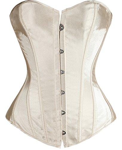 Damen Frauen Gothic Satin Vollbrust Korsett Waist Cincher Training Corsage Brustkorsett Top mit Gstring (M/(EU 34-36), Beige) (Satin-mesh-bhs)