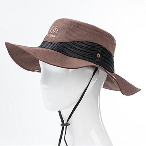 WYYY Chapeaux Hommes Visière Round Top Pliable Curling Protection Contre Le Soleil À L'extérieur Protection UV (Couleur : Brown.)