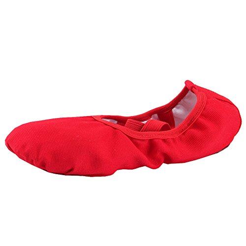 Ballettschläppchen Mädchen Ballerinas Tanzschuhe Damen Ballettschuhe Kinder Ballett Trainings Schläppchen Schuhe Rot Größe 31