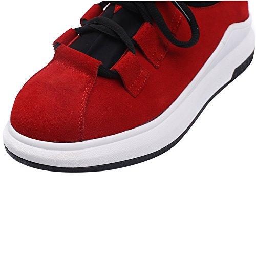 Shenn Donna Binario Allacciare Confortevole Casuale Scamosciato Pelle Sneaker Scarpe Rosso