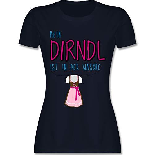 Oktoberfest Damen - Mein Dirndl ist in der Wäsche - XXL - Navy Blau - L191 - Damen Tshirt und Frauen T-Shirt