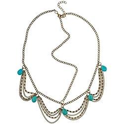 LUX accesorios Boho Turquesa Bead & Drape cadena enlace cadena de cabeza