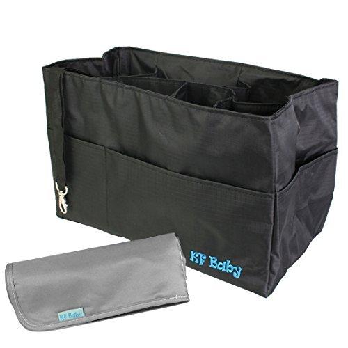 kf-baby-diaper-bag-insert-organizer-12-x-64-x-8-inch-black-diaper-changing-pad-value-combo