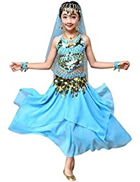 4dc5d322dca5 Boomboom Baby S Clothing Baby Girls Belly Dancer Costumes for Girls Kids  Dress Top+Skirt Blue