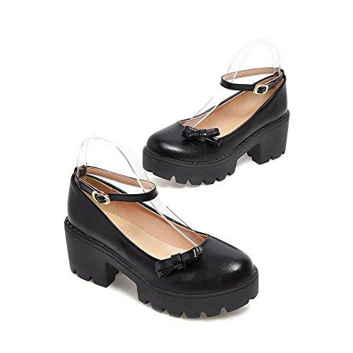 AllhqFashion Damen Niedrig-Spitze Weiches Material Hoher Absatz Stiefel mit Schnalle, Schwarz, 40