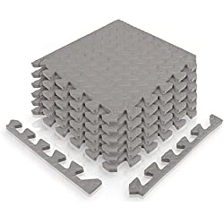 Esteras protectoras deportivas de diMio, forma de rompecabezasEsterilla de protección para suelo, color gris, tamaño 30x30cm (12 Stk. / 1,08qm), 12.20 x 12.20 x 4.92inches