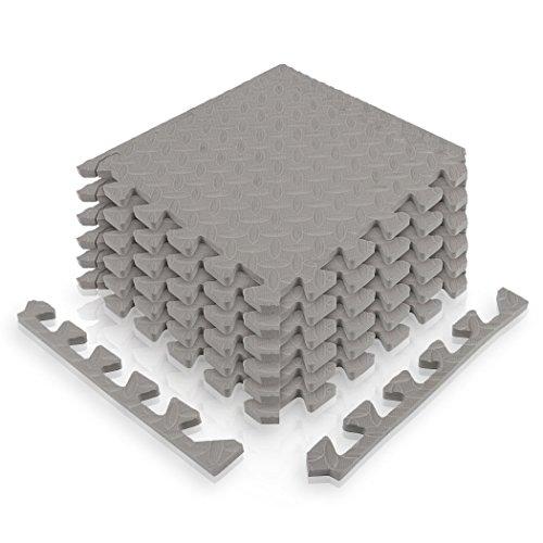 diMio 30x30cm Sport-Schutzmatten Set - 12 Puzzlematten inkl. Randstücke ergibt ca. 1.1qm Schutzmatte / Unterlegmatte / Fitnessmatte / Bodenschutz Matte [30x30cm, grau]