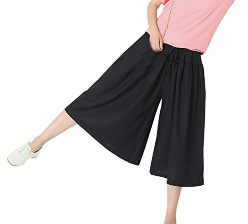 Frauen Elegant Breite Bein Hohe Taille Palazzo Leinen Pleated Culotte Palazzo Hose Capris One Size Schwarz - Pleated Culottes