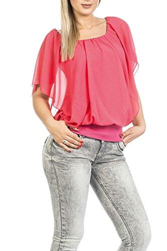 FreyFashion - Made in France Hochwertiges Damen Shirt Tunika Bluse T-Shirt Top Kurzarm, Stark Reduziert Koralle