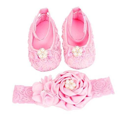 Malloom® neugeborenes Baby 3-6 Monate Cartoon Schafe Fotografie Prop Baby Kleinkind Schuhe + Stirnband Set (rosa, 11) (Mädchen Hund Weihnachten Kleidung)