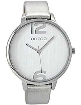 Oozoo Damenuhr mit silberfarbenem Lederband 42 mm C8927