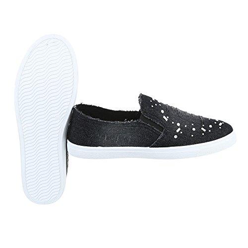 Ital-Design - Pantofole Donna Schwarz FC-V201