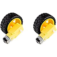 Robotbanao EAEC100100-686 Dc Bo Motor Dual Shaft and Wheels Smart Car Robot Gear Motor for Arduino, Black and Yellow