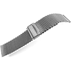 JRRS7777 24mm Stainless Steel Watch Mesh Bracelet Wristband 1.0mm Wire Titanium Tone Highly Polishing
