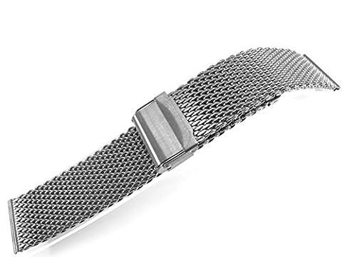 20mm Stainless Steel Watch Mesh Bracelet Wristband 1.0mm Wire silver black gold rose gold titanium (Polishing Titanium)