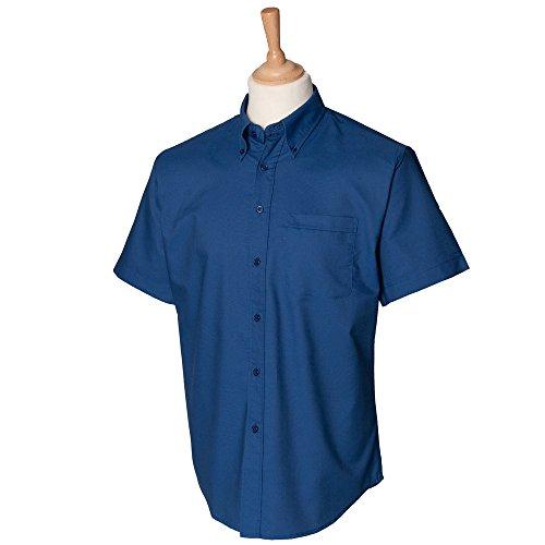 Mens Short Sleeve Oxford Shirt (Henbury Short sleeve classic Oxford shirt Dark Blue 2XL)