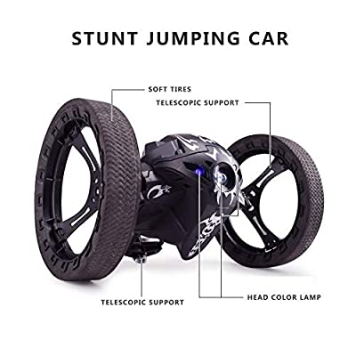 Teepao Jumping Sumo Robot, Sumo Jumping Remote Control Jumping Stunter 360°Spin Rechargeable RC Bouncing Car for Kids Boys 2.4GHz(Black)