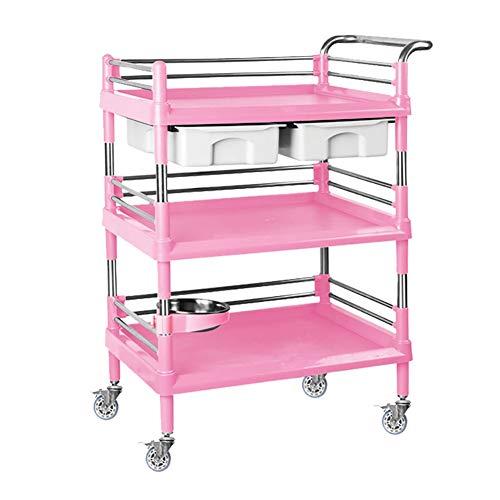 Küchenwagen Servierwagen mit 3 ABS-Tabletts, Tee-Servierwagen/Abräumwagen/Catering-Servierwagen aus Kunststoff, blau/grau/pink (Color : Pink, Size : 64.9×44.6×88cm)