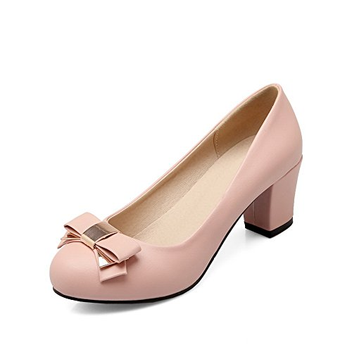balamasa Mesdames massif kitten-heels antidérapante en cuir supérieur pumps-shoes Rose