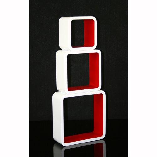 Homestyle4u Cube Wandregal Regal Bücherregal Hängeregal 3 er Set Retro Design weiss rot