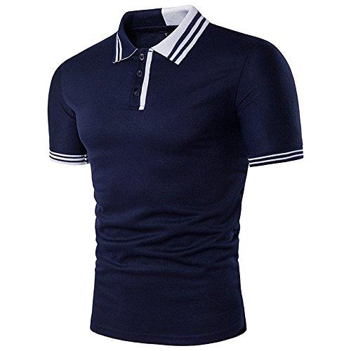 Offerte, deals, maglietta da uomo ronamick, polo, alla moda, stile estivo, sottile e corta, maglia a maniche corte in pizzo, con colletto a polo blu marine xl