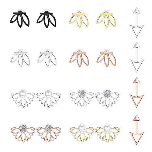 Yadoca 10 Ohrringe Mode Hohl Lotus Blume Legierung Kristall Einfach Schick Mode Glitzer Ohrringe für Damen Mädchen Schick Ohrringe Set