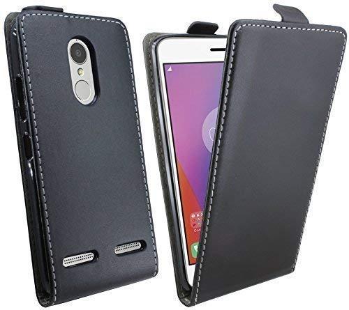 ENERGMiX Klapptasche Schutztasche kompatibel mit Lenovo K6 in Schwarz Tasche Hülle