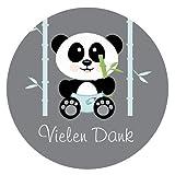 72 VIELEN DANK Aufkleber Thank You Sticker zum Danke sagen – Ideal für Geburtstag, Hochzeit, Weihnachten, Feier oder als Dekoration - 3,8 x 3,8 cm – Grau, Türkis – Panda Design