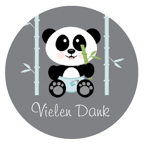 24 VIELEN DANK Aufkleber Thank You Sticker zum Danke sagen - Ideal für Geburtstag, Hochzeit, Weihnachten, Feier oder als Dekoration - 3,8 x 3,8 cm - Grau, Türkis - Panda Design