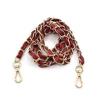 KUNSE Replacement Metal Chain Pu Leather Women Bag Shoulder Strap Diy Cross Body Bag-Red