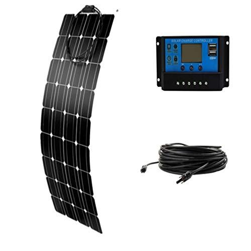 Contenido del paquete: * 1 panel solar flexible de 100 W. * 1 x 10A LCD 12V/24V controlador solar, * 1 cable solar de 5 m con conectores MC4. * Panel solar flexible de 100 W (36 células). Especificaciones: Potencia máxima: 100 W. Voltaje de funcionam...