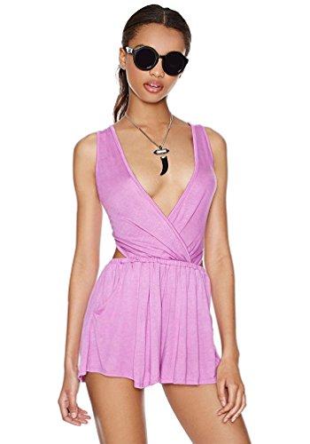 NiSeng Combishort Dos Nu Sans Manches Combinaison Short Jumpsuit Pantalon Court pour Femme Violet