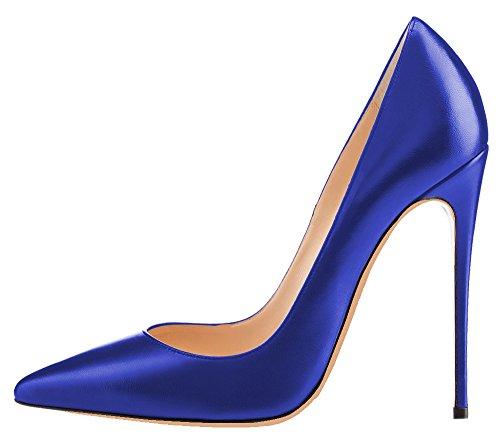 MONICOCO Übergröße Damenschuhe Spitze Zehen Stiletto Pumps für Party Hochzeit Blau PU