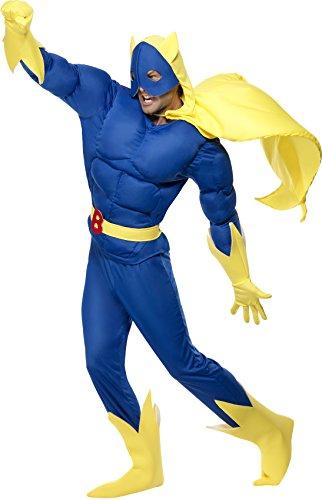 Smiffys, Herren Bananaman Kostüm, Gepolstertes Oberteil, Hose, Umhang mit Kapuze und Maske, Gürtel, Handschuhe und Überstiefel, Größe: L, 28082
