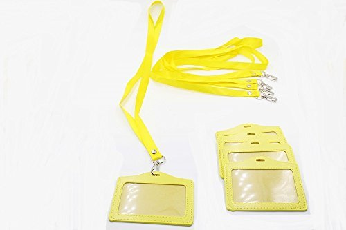 emeskymall-5pcs-horizontal-style-yellow-name-id-tag-badge-card-holder-with-yellow-lanyard-by-esky-ma