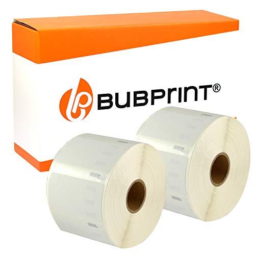 Bubprint 2 Etiketten kompatibel für Dymo 11354 S0722540 für Labelwriter 310 320 330 400 450 Duo Twin Turbo 57 x 32 mm weiß white Universal-charge-bar