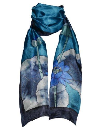 Pañuelo de 100% Seda Pintado a Mano - Flores de Loto y Fondo Azul