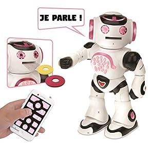 LEXIBOOK Powergirl-Robot Interactivo para Jugar y Aprender Juguetes para niños y niñas Danza, Juguete de música, Quiz educativos, recuento de Historias, Lanza de Discos, ROB50GFR