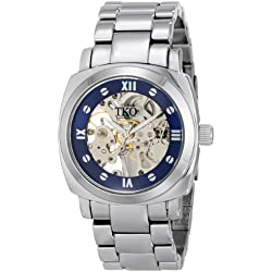 TKO ORLOGI Women's TK628S See Through Mechanical Skeleton Hand with Silver Bracelet Watch