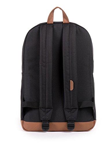 Herschel 10011-00001  Pop Quiz Backpack Rucksack, 1 Liter, Schwarz/Tan Black/Tan Synthetic Leather Backpack
