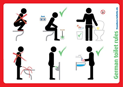4x German toilet rules | Toilet etiquette | Sit down to pee, Use toilet brush, and wash hands, 148x105mm