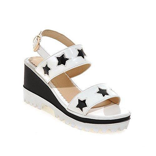 VogueZone009 Damen Gemischte Farbe Pu Leder Hoher Absatz Schnalle Offener Zehe Sandalen Weiß