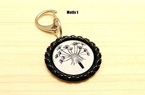 handgemachter Schlüsselanhänger Kronkorken - Pusteblume / 4 verschiedene Motive - Cabochon / Glasversiegelung - Handmade (Unkraut Schlüsselanhänger)