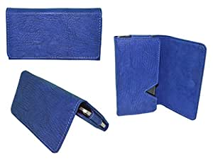 Generic Premium Leather Fabric Wallet Pouch for - Samsung Galaxy Core Max - Blue - WTPBL50#1470DR