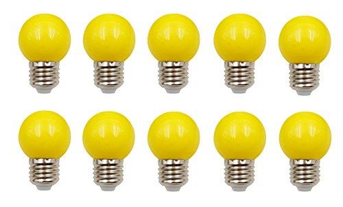 JCKing (Packung von 10) E27 Schraubkappe Base Golfball Lampen Farbige Glühbirnen Für Patio Party Weihnachten - Gelb