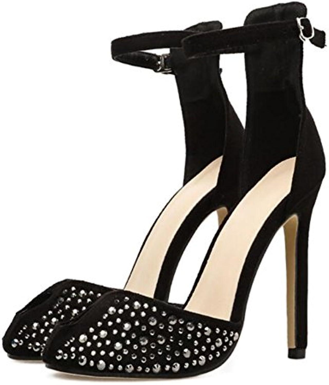 GAOLIXIA Frauen High Heels Frühling und Sommer neue Strasssteine mit hochhackigen Sandalen komfortable offeneö